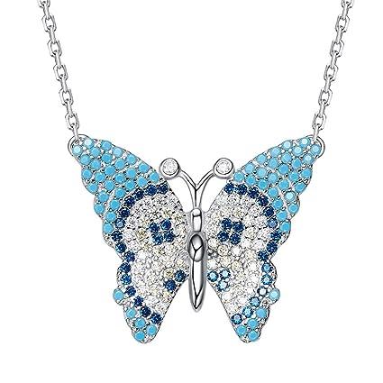 1af02d8086be DEQIAODE Sterling 925 Plata Turquesa Azul Encanto Largo Mariposa Colgante  Collar Regalo Oro Blanco Joyas para