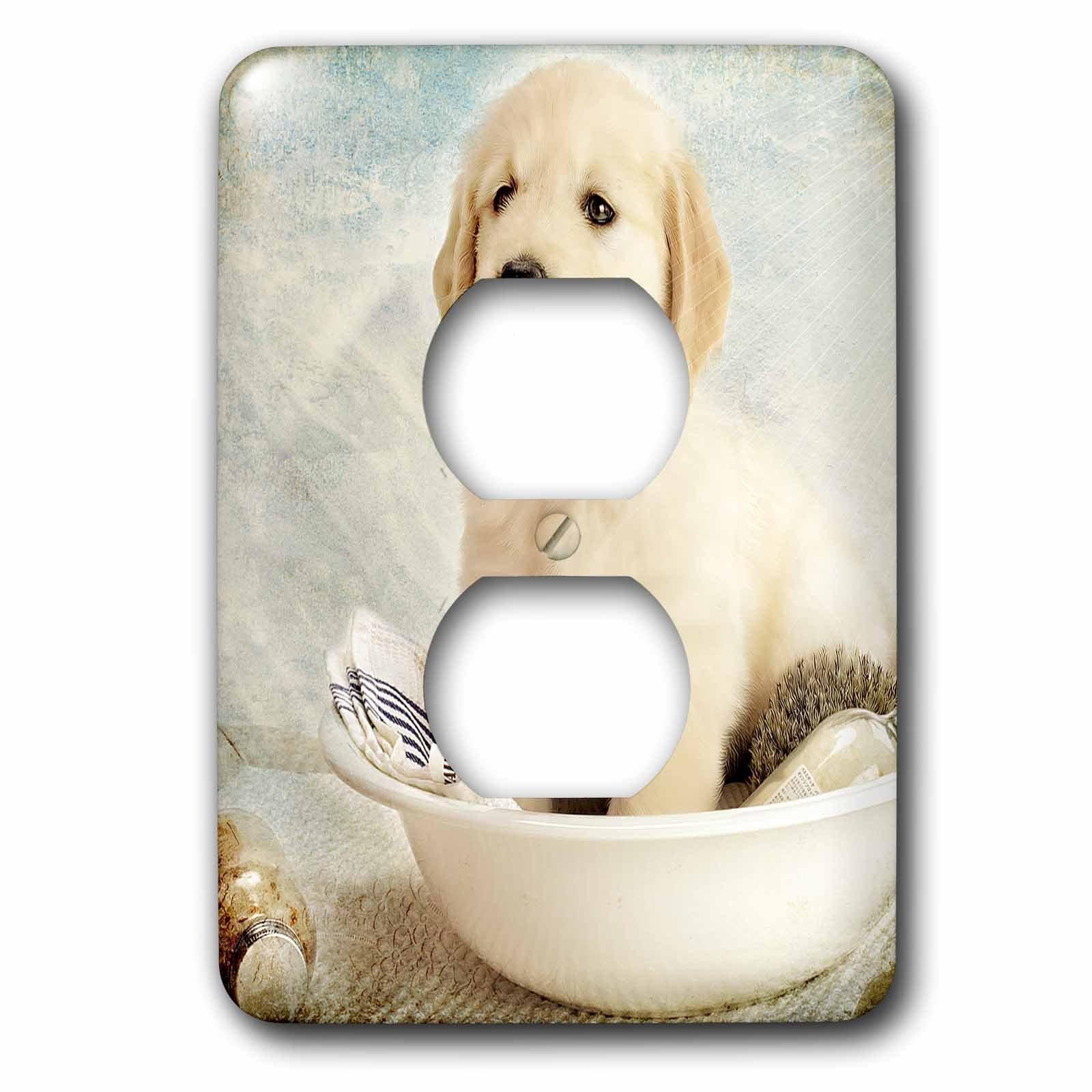 3dRose lsp_172989_6 Cute Golden Retriever Puppy Spa Day Art Photo Courtesy Badestboss Light Switch Cover