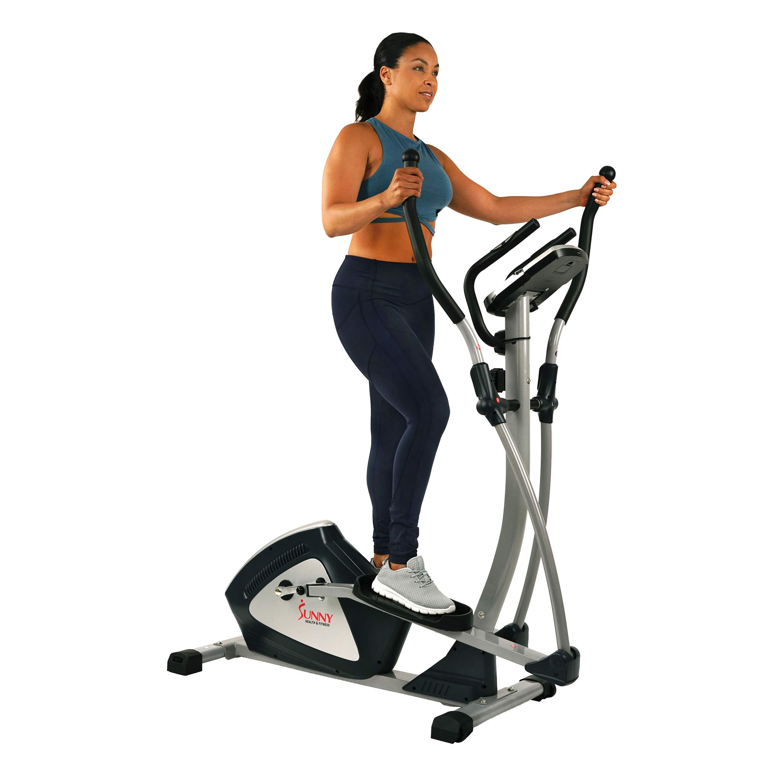 Sunny Health & Fitness Magnetic Elliptical Trainer Machine w/ Tablet Holder, LCD Monitor, 287 LB Max Weight and Pulse Monitoring - Endurance Zone - SF-E3804 by Sunny Health & Fitness