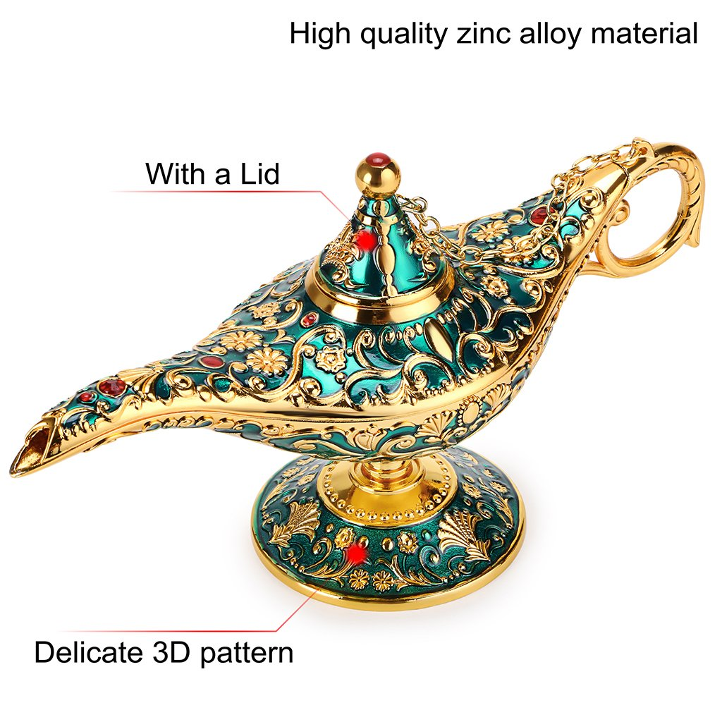 Hipiwe Vintage Magical Legend Aladdin's Genie Lamp for Home/Wedding Table Decoration,Collectable Rare Classic Arabian Costume Props Lamp Pot &Gift for Party/Halloween/Birthday(Green) by Hipiwe (Image #2)