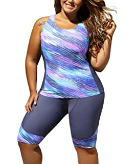 f72df29f16a77 Farysays Women's Sleeveless Top and Cropped Pants Two Piece Unitard Tankini  Swimsuit