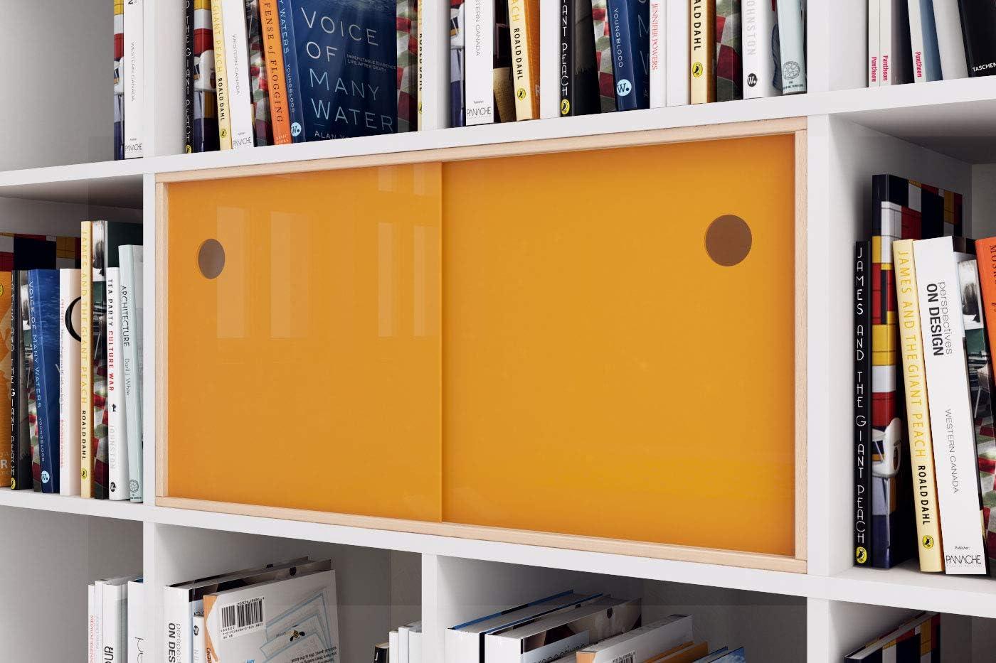 Superelch Puerta corredera para estantería Kallax de IKEA, Puertas de Cristal acrílico, Vitrina de Cristal, Carril con Marco de Madera para Libros