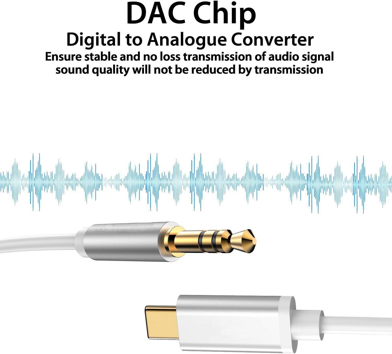 Argent USB C vers Jack USB C Jack 3.5mm C/âble Jack Cable Audio Auxiliaire 1M