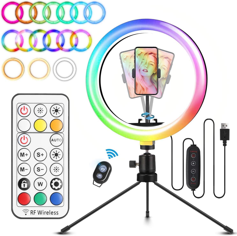 ELEGIANT Aro de Luz Trípode LED, Anillo de Luz 26 Colores RGB de 10.2
