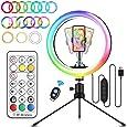 """ELEGIANT LED-ringljusstativ 10,2 """"Selfie-ringljus 3 ljuslägen 26 RGB-färgförändring + 9 ljusstyrkenivåer Bordsljuset kan dimas för fotografering, videoinspelning, smink, livestreaming, Volg YouTube"""