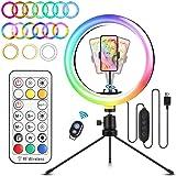 """ELEGIANT LED-ringljusstativ 10,2 """"Selfie-ringljus 3 ljuslägen 26 RGB-färgförändring + 9 ljusstyrkenivåer Bordsljuset kan…"""