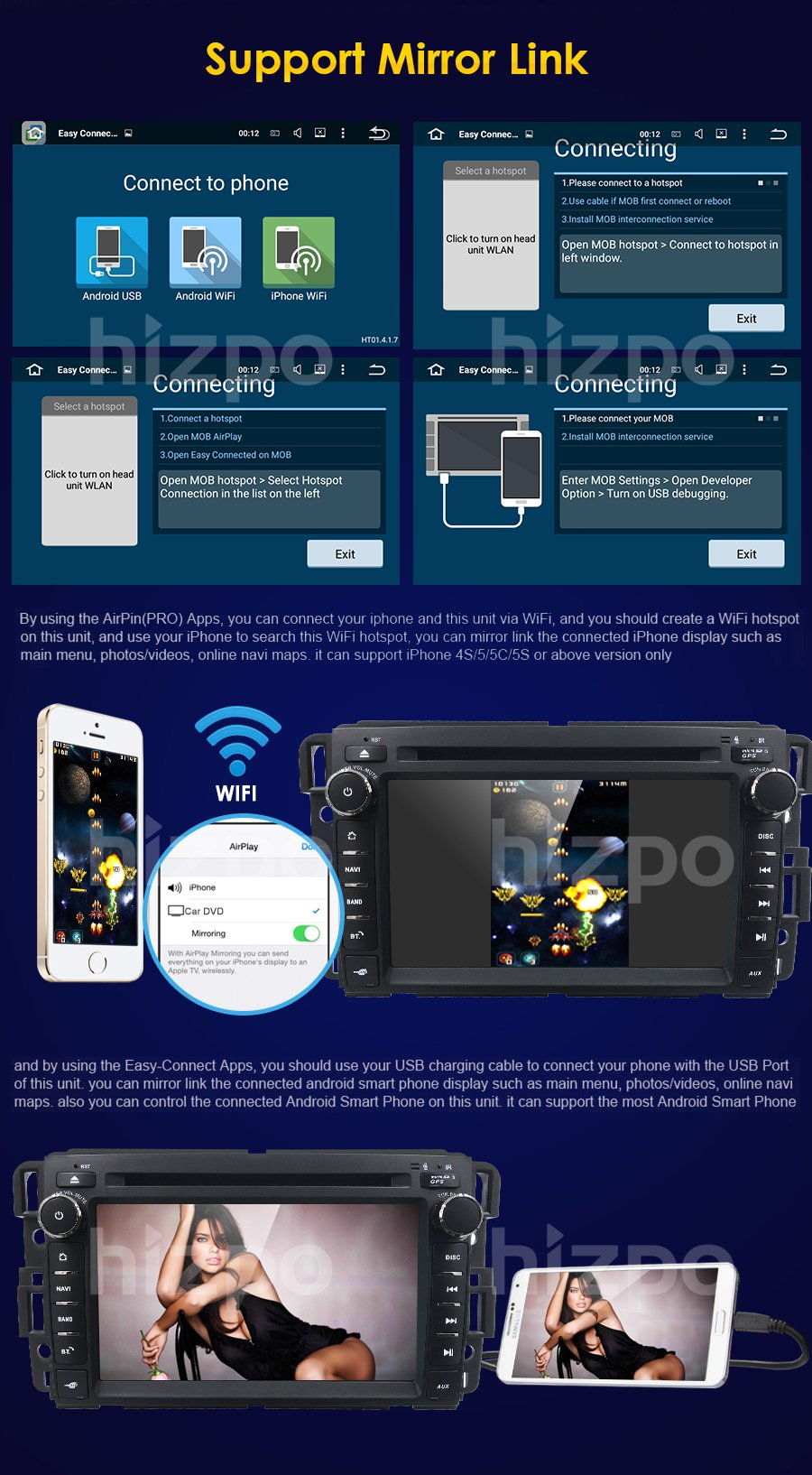 Android 7.1 Car Stereo DVD Player For GMC Chevy Silverado 1500 2012 GMC Sierra 2011 2010 7 inch Quad Core Double Din In Dash Touchscreen FM/AM Radio Receiver Navigation Bluetooth with Backup Camera by HIZPO (Image #8)