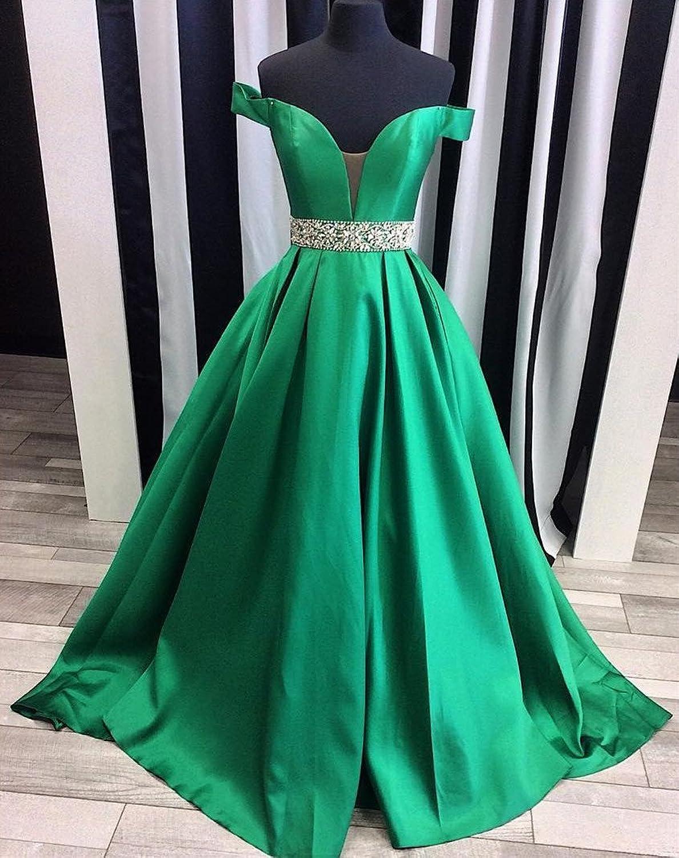 Homdor Beaded Off Shoulder Prom Dress A-Line Satin Evening Formal ...
