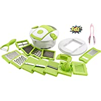 ESSPY ENTERPRISE 15 in 1 Vegetable and Fruit Cutter Chopper, Dicer, Grater, Slicer with Airtight Unbreakable Container (Green)