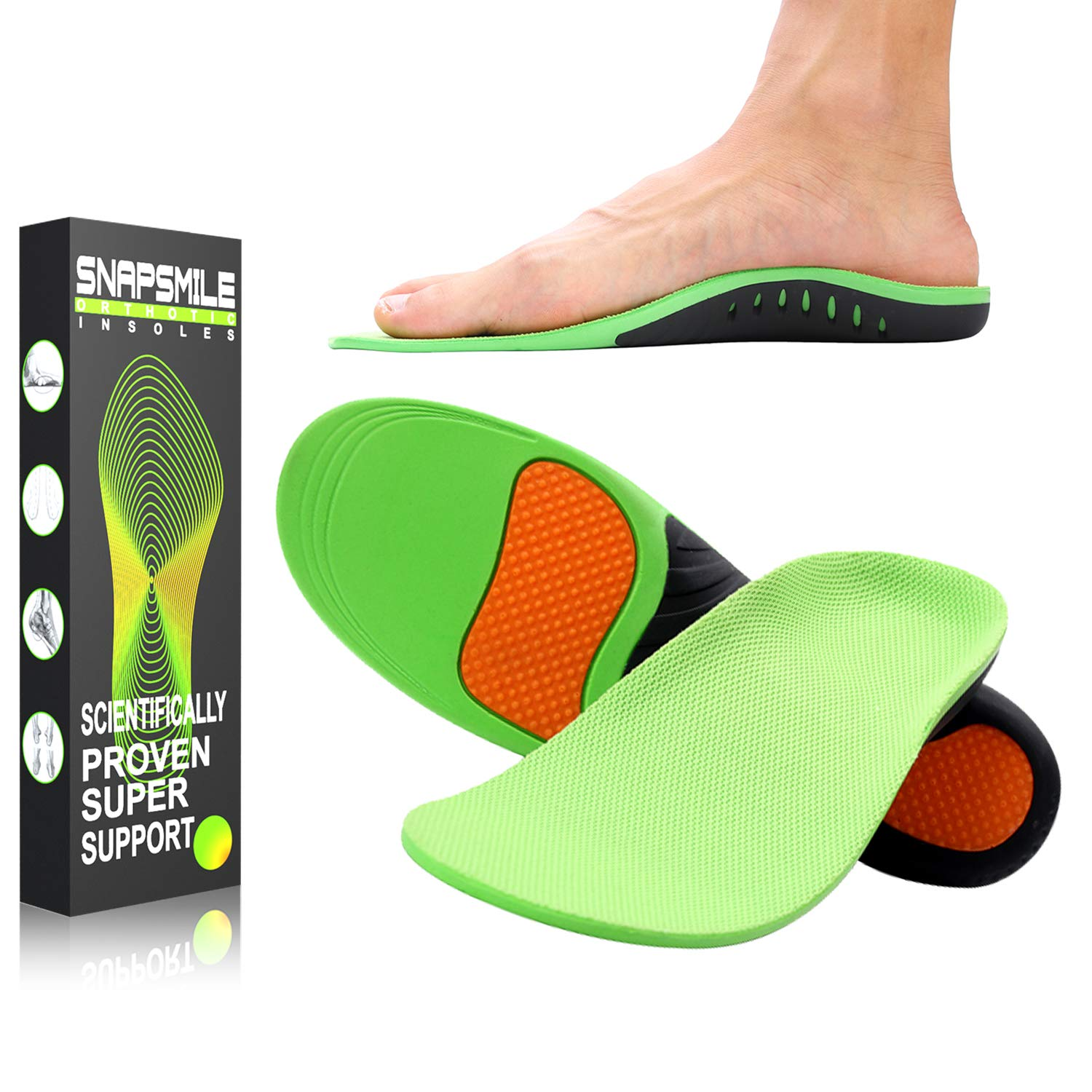 Snapsmile Medical Grade Plantar Fasciitis Inserts - Arch Support Shoe Inserts Women Man Doctor Recommends Professional Orthotic Inserts for Plantar Fasciitis High Arch Support Gel Flat Feel Insoles, S