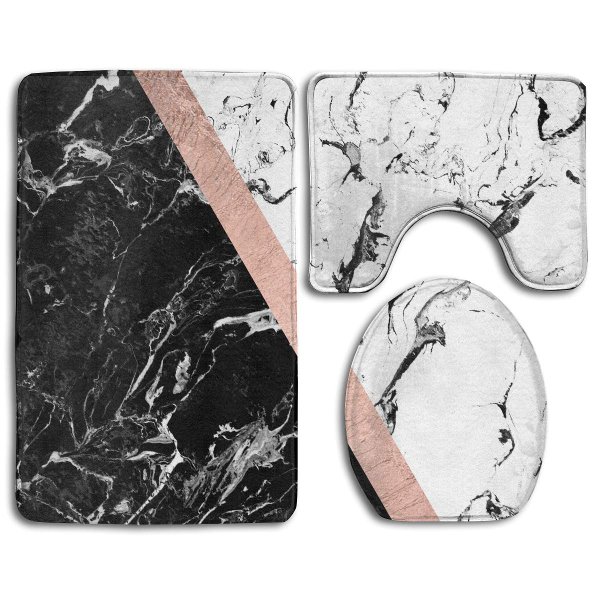 """CCBUTBA Bathroom Rug Mats Set 3 Piece Chic Black White Marble Color Block Rose Gold Extra Soft Bath Rugs (20""""x32"""") Contour Mat (20""""x16"""") and Lid Cover (18""""x14"""")"""