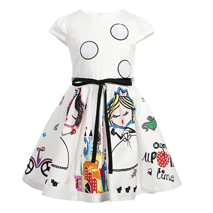 05901eb81 swimstore Girls Summer Dress Kids Clothes Baby Girl Dress with Sashes Robe  Fille Character Princess Dress