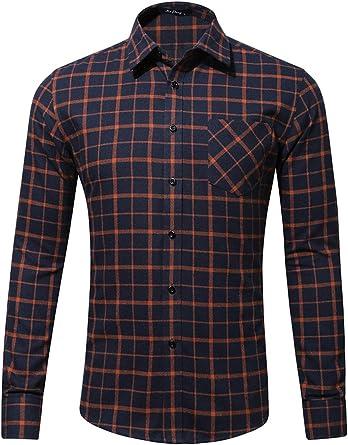 Hombre Camisa a Cuadros Manga Larga Botón Bolsillo Casual Franela Camiseta Deportiva: Amazon.es: Ropa y accesorios
