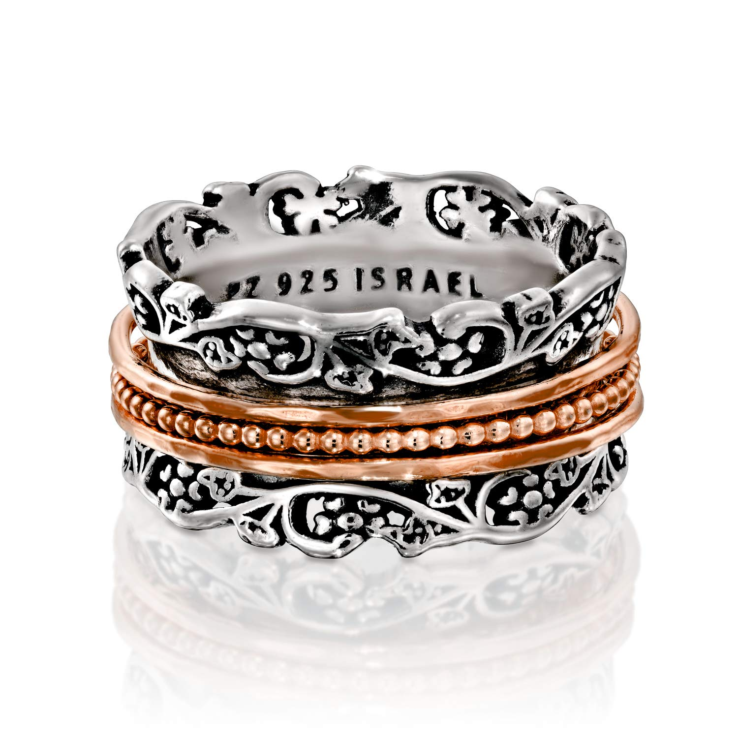 Paz Creations .925 Sterling Silver and Rose Gold Over Silver Spinner Ring (9), Made in Israel by PZ (Image #1)