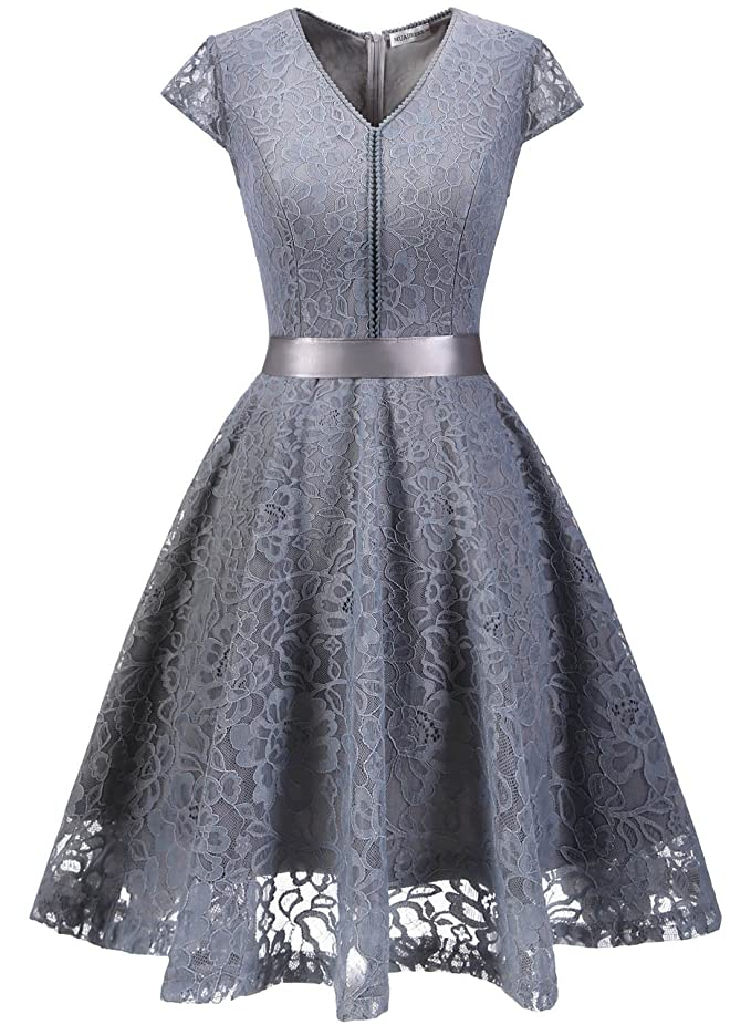 MuaDress Fashion Vestido Corto De Fiesta Elegante Mujer De Encaje Escote en V Estampado Flor Vestido Boda Cóctel