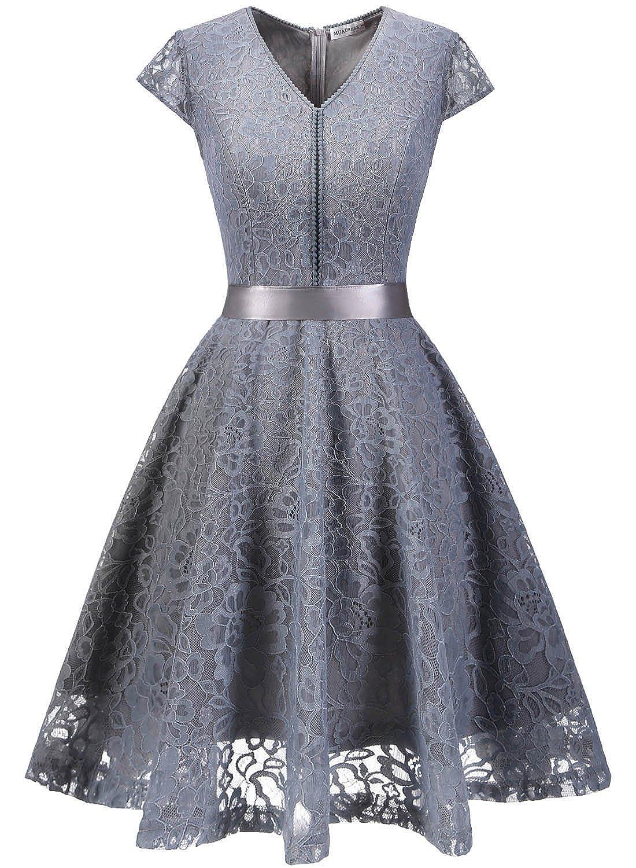 TALLA XXL. MuaDress Fashion Vestido Corto De Fiesta Elegante Mujer De Encaje Escote en V Estampado Flor Vestido Boda Cóctel Gris XXL