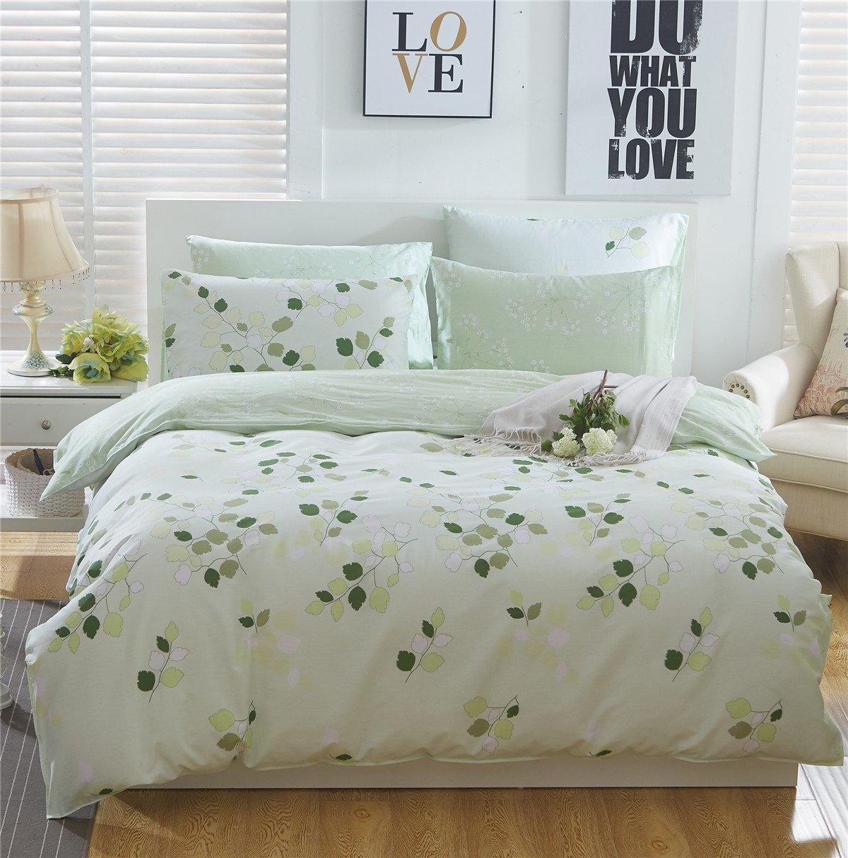 TheFit Paisley Textile Bedding for Adult U2185 Green Leaf Duvet Cover Set 100% Cotton, Twin Queen King Set, 3-4 Pieces (Twin)