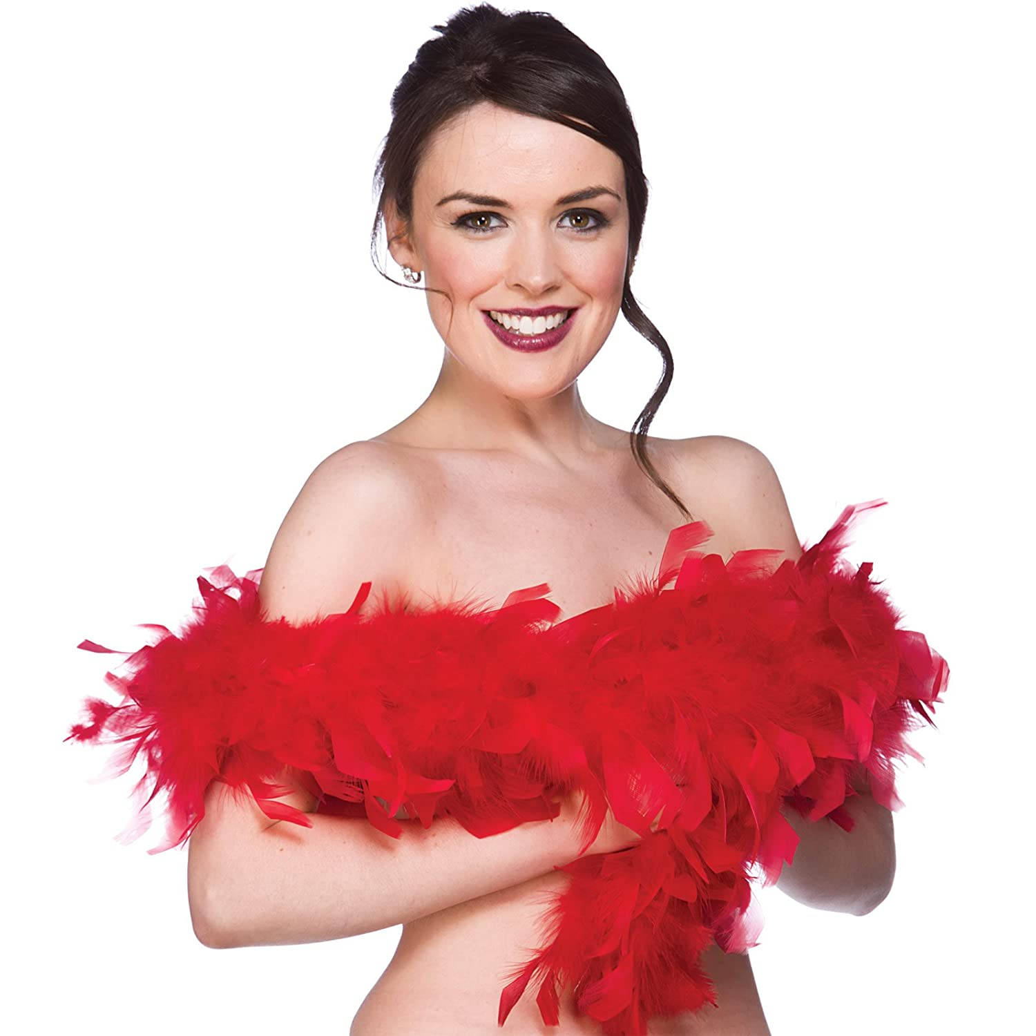 Feather Boa Super Soft Ladies Fancy Dress Red Partyrama 38310SMF-A