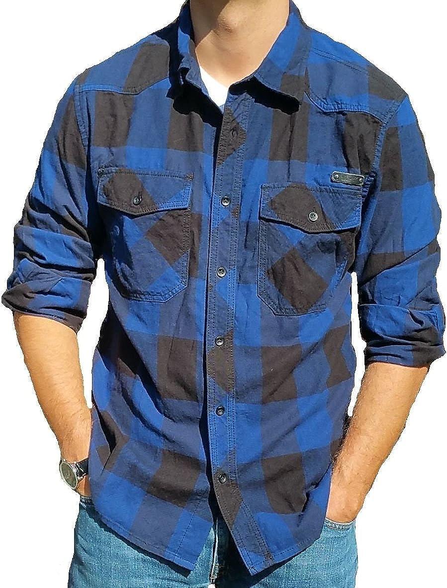Camisa de hombre Brandit, de franela, a cuadros negro, azul XXXL: Amazon.es: Ropa y accesorios
