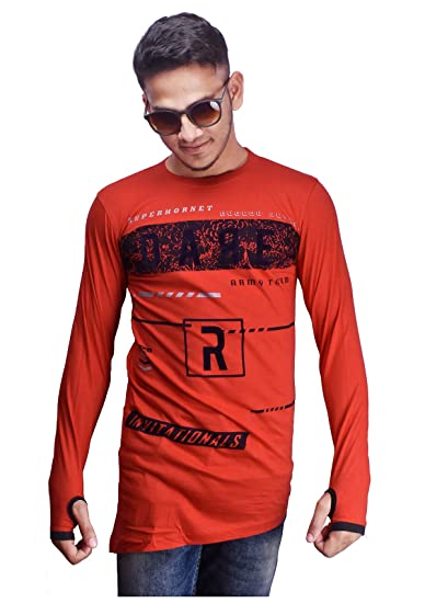 brand new 57d14 edd69 Round Neck Solid Colour Stylish Full Sleeve t-Shirt (red, Large)   Amazon.in  Clothing   Accessories
