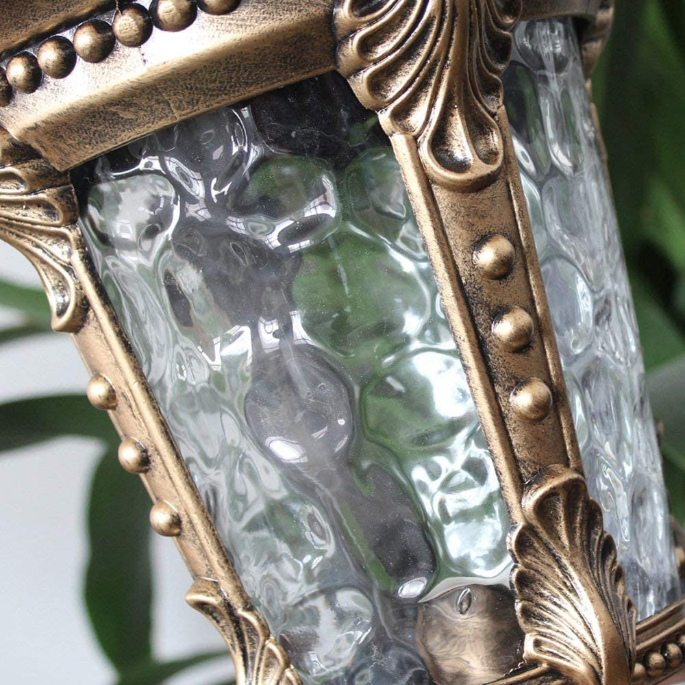 Continentale lantaarn waterdichte terrasglas kolomlamp, tafellamp voor buiten, vintage traditie tuinpaal gazonlamp, aluminium straatverlichting E27-verlichting tuinvilla Bronze