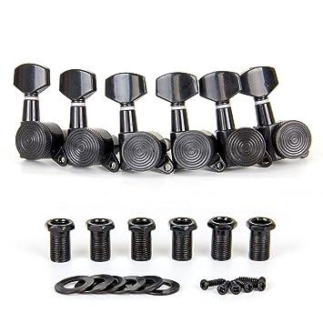 Clavijas de afinación de bloqueo para guitarra eléctrica acústica afinadora de máquina 6 cabezales de color negro derecho: Amazon.es: Instrumentos musicales
