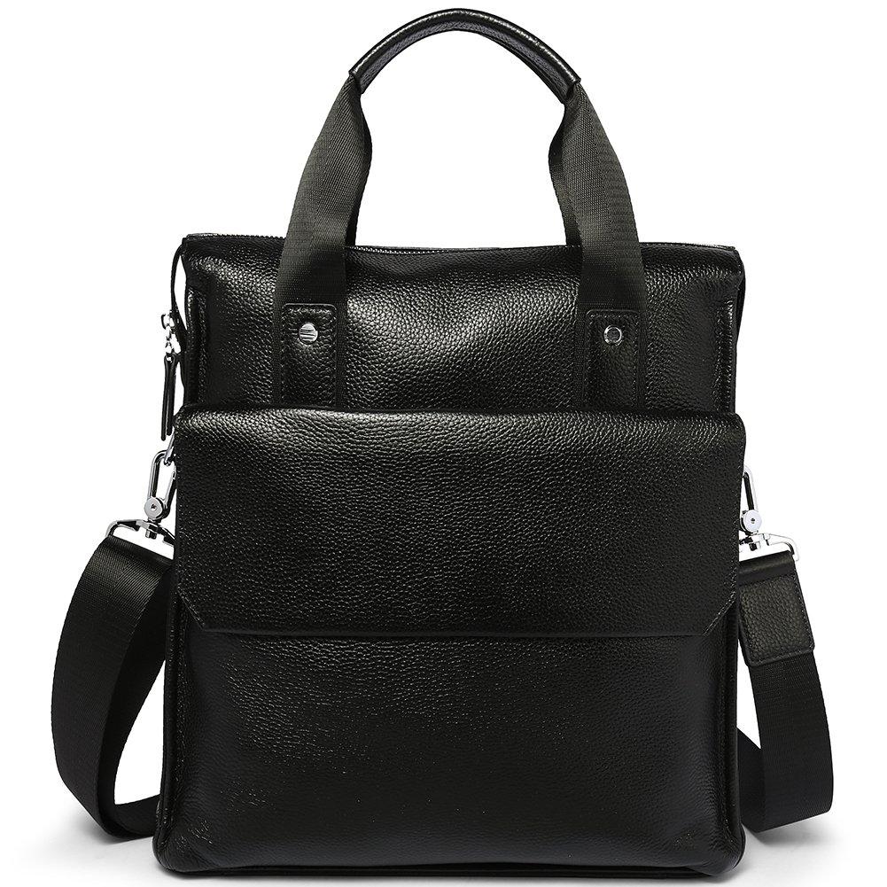 MANTOBRUCE Business Handbag Leather Briefcase for Men Women Simple 11'' Messenger Bag Shoulder Bag