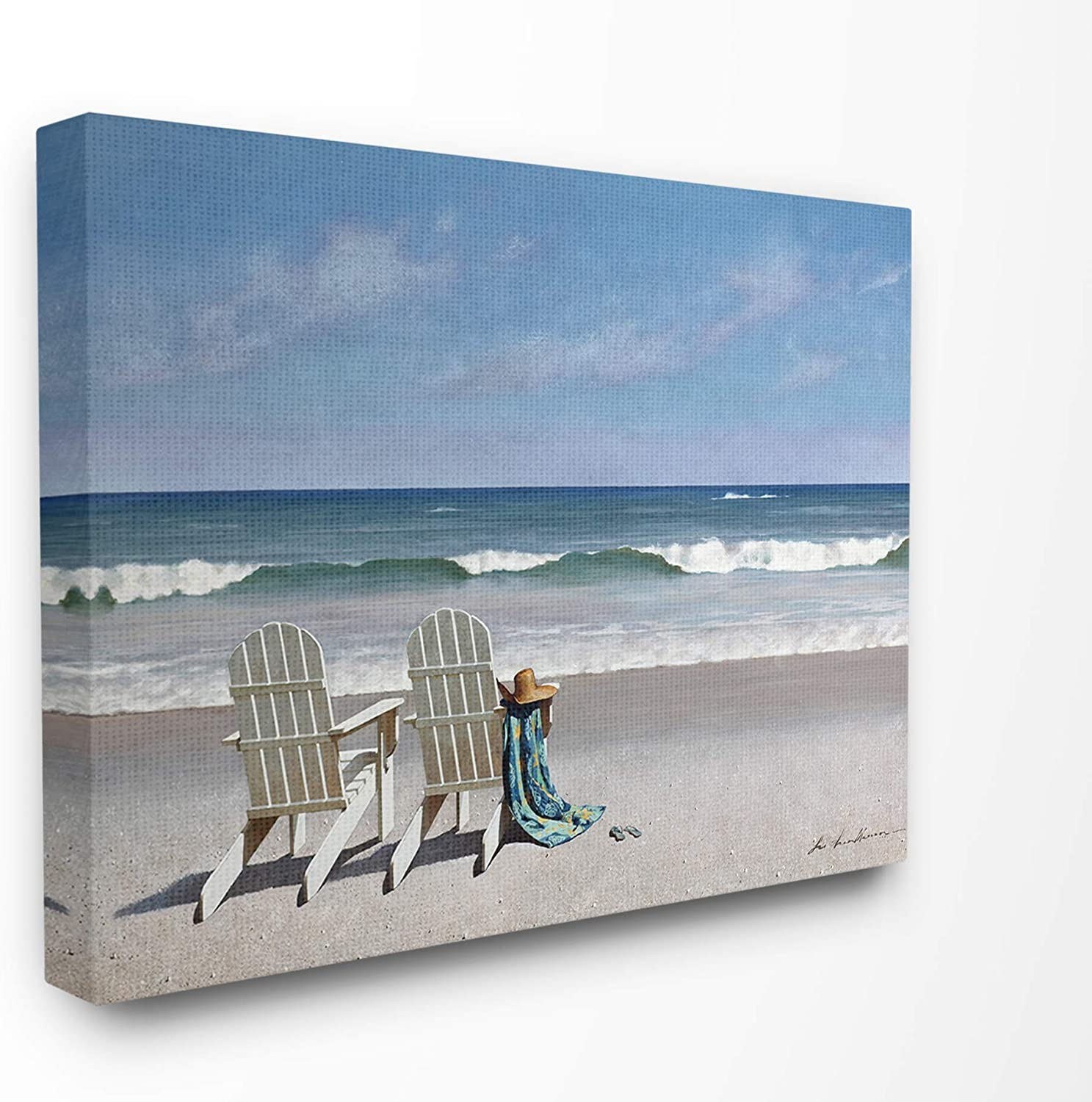 The Stupell Home Decor Two White Adirondack Chairs On The Beach Stretched Canvas Wall Art 24 X 30 Multi Color Posters Prints