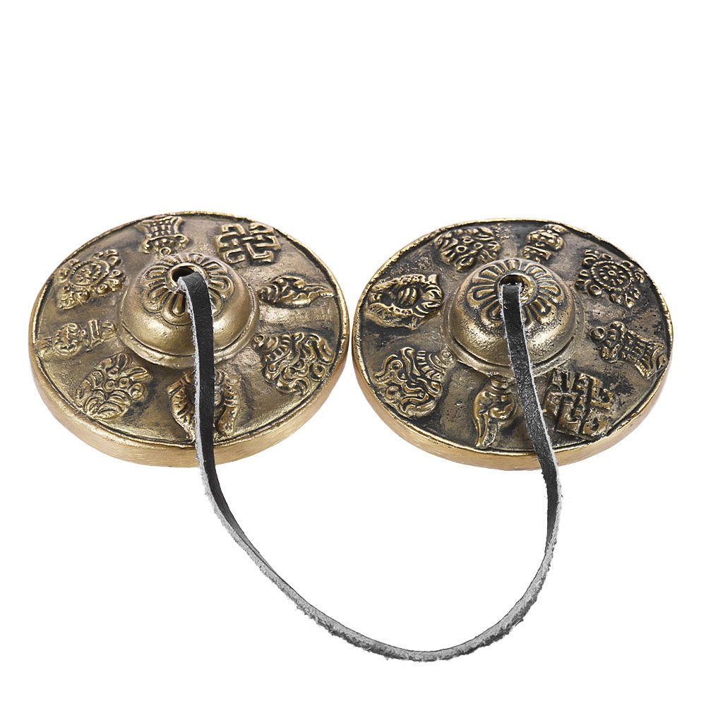 ammoon 2.6 inch Handcrafted Tibetan Meditation Tingsha Cymbal Bell with Buddhist The Eight Auspicious Symbols by ammoon