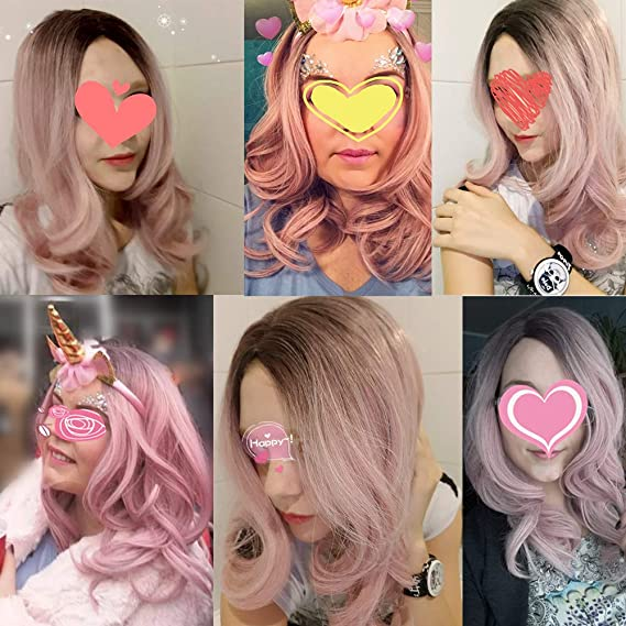 Amazon.com : Long Body Wave Ombre Pinkish-Purple Wigs 22 Inches Side Part Brown Root Synthetic Wig For Women Cosplay Or Daily Wear R6-1608-60 22inches : ...