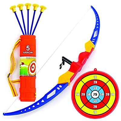 Toysery Bow and Arrow for Kids - Archery Bow with 5 Suction Cups Arrows, Target, and Quiver - Practice Outdoor Toys for Children Above 6 Years of Age: Toys & Games