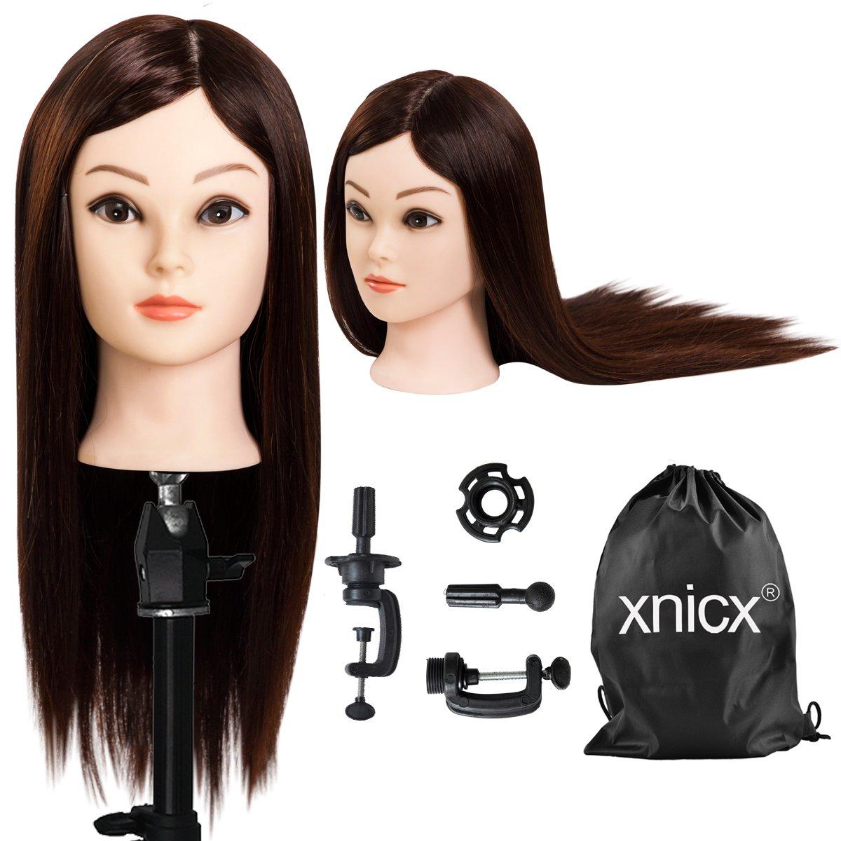 xnicx 90% Pelo real Maniquíes de aprendizaje Cabezas Peluqueria Cabezote Cabello Marrón oscuro