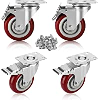 GloEra 3 inch Swivel Caster Wheels Heavy Duty 1000 LBS Capacity with Safety Dual Caster, 4 Pack All with Brake No Noise Lockable Wheels (Include 16 pcs Screws Set)