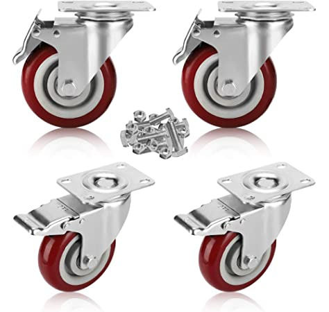 "4x BRAKED 360° SWIVEL CASTORS Small 38mm//1.5/"" HOLDS 160KG Furniture Cart Wheels"