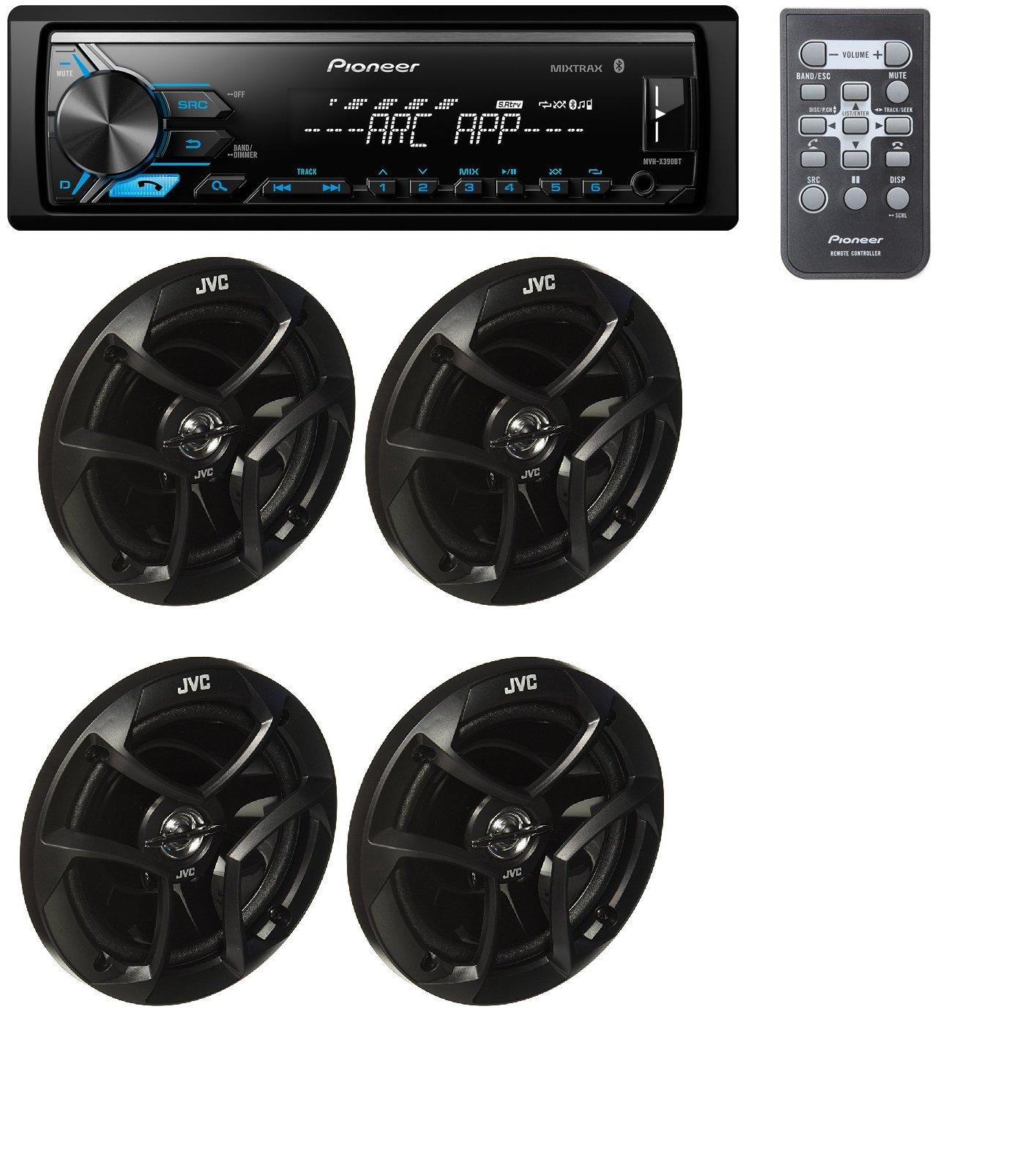 Pioneer MVH-X390BT MP3/WMA Digital Media Player Built-in Bluetooth MIXTRAX With (2) Pairs Of CS-J620 6.5'' 300W Car Audio 2-WAY Coaxial Car Speakers System / 4 Speakers