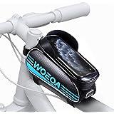 WOEOA Bolsa Bicicleta Manillar para Ciclista Ciclismo, Bolsa Bici de Montaña con Soporte para Telefono Impermeables con…