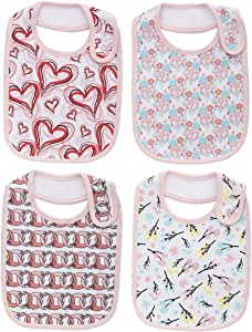 Cotton Adjustable 100% Waterproof Large Bibs for Baby Girls Feeding Drooling for 4 Pack