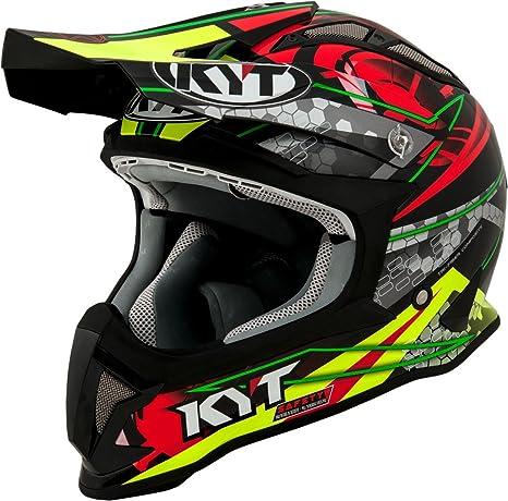 Amazon.es: KYT casco Moto Cross off-road Strike Eagle, Web Matt Green/Red, talla L, 59 - 60 cm