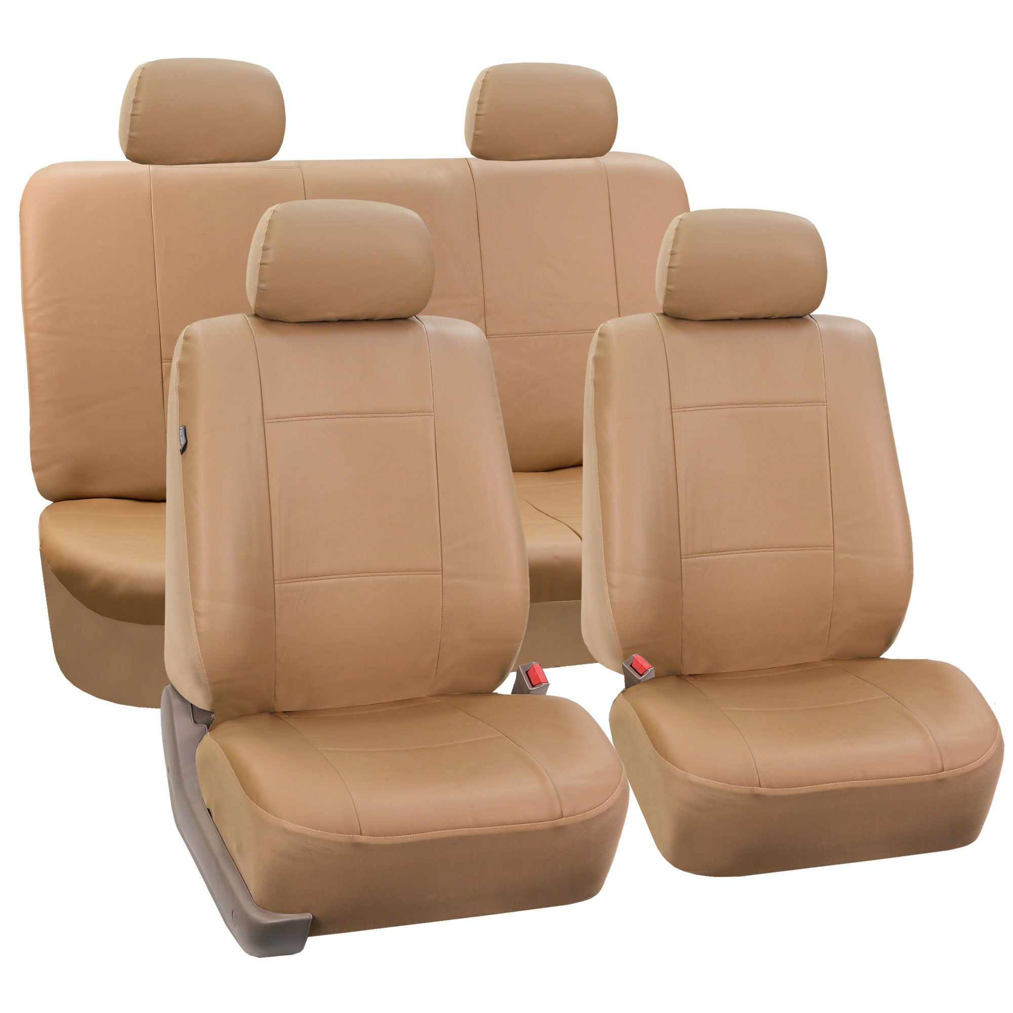 FH-PU001114 PU Leather Car Seat Covers Solid Tan color