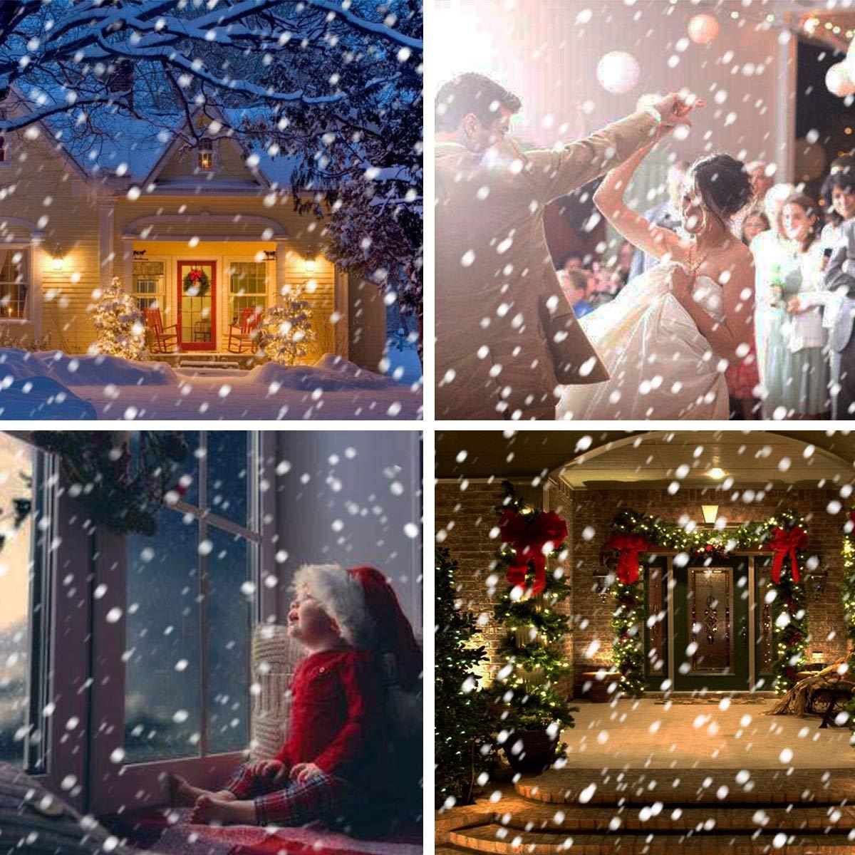 Proiettore Luci Natalizie Effetto Neve.Gesimei Proiettore Luci Natale Esterno Effetto Fiocco Di Neve Proiezione Lampada Led Impermeabile Illuminazione Giardino Telecomando Rotante Faretti