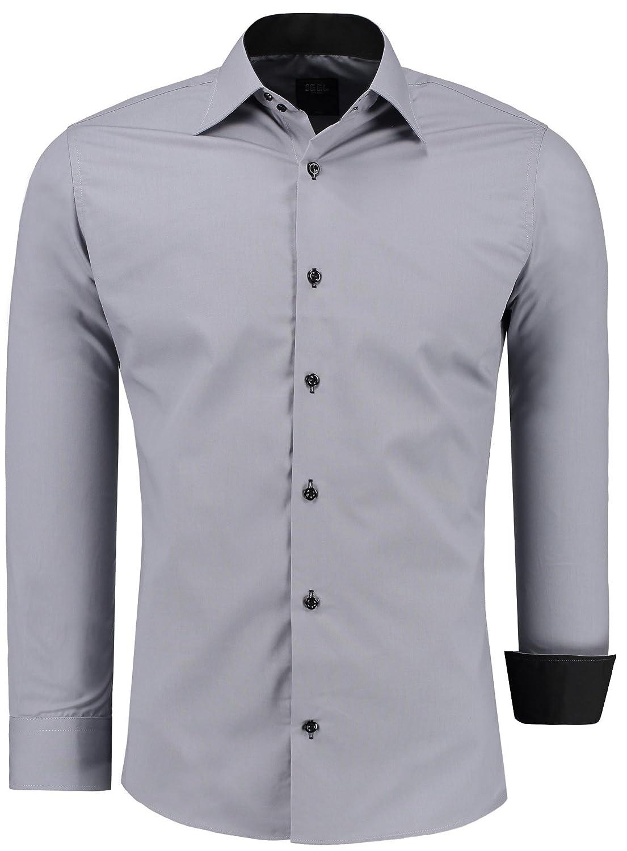 TALLA 5XL. Jeel Hombre de Camisa Manga Larga/Business Tiempo Libre Fácil de Planchar Boda//Slim-Fit/S–6x l