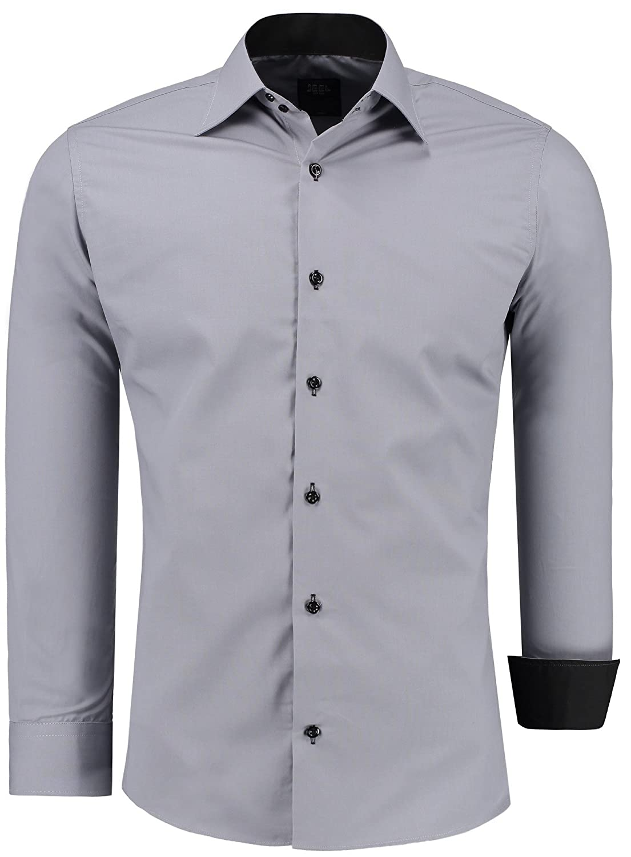 Jeel Hombre de Camisa Manga Larga/Business Tiempo Libre Fácil de Planchar Boda//Slim-Fit/S–6x l
