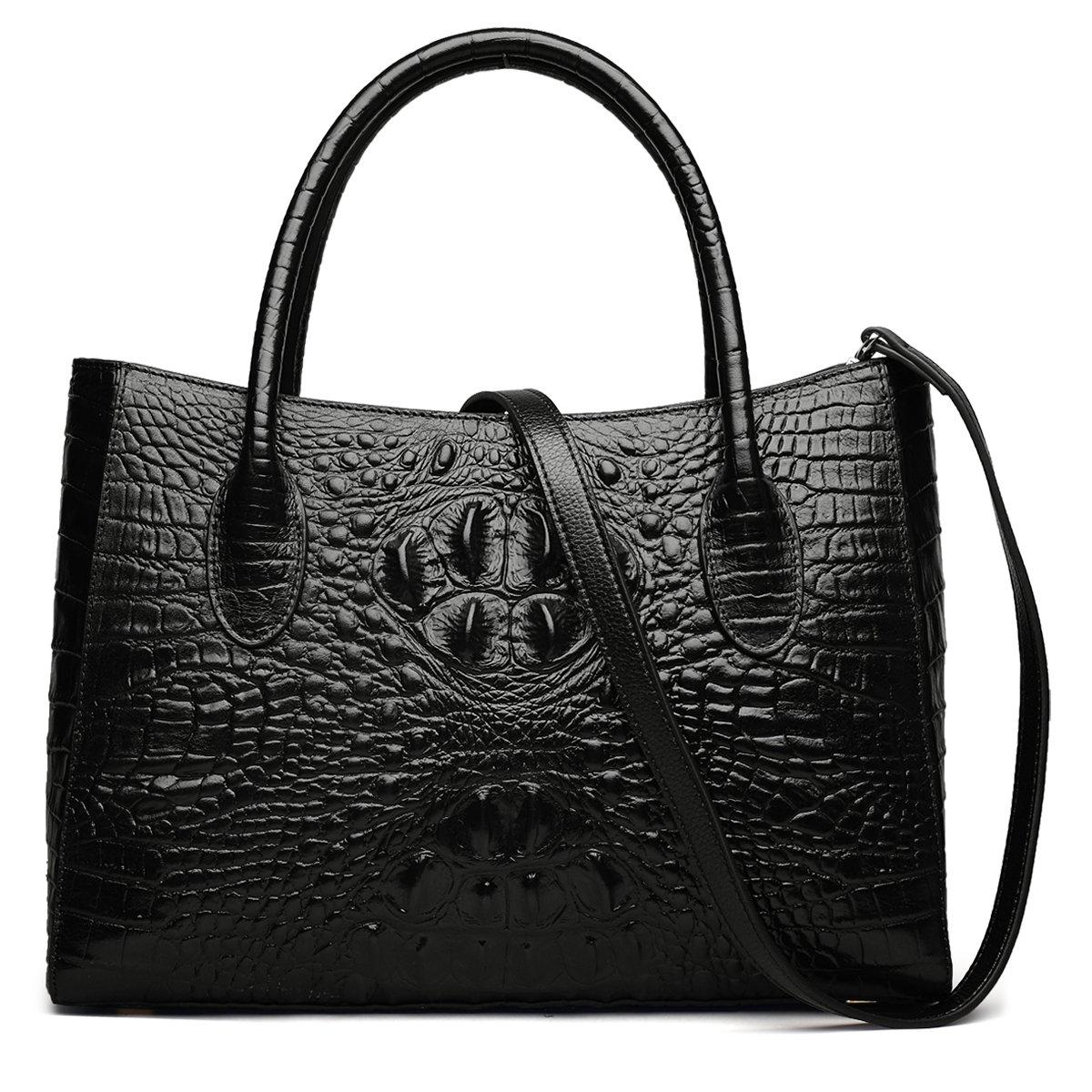 Black ZOOLER Genuine Leather Handbag Purses for Women Crocodile Embrossed