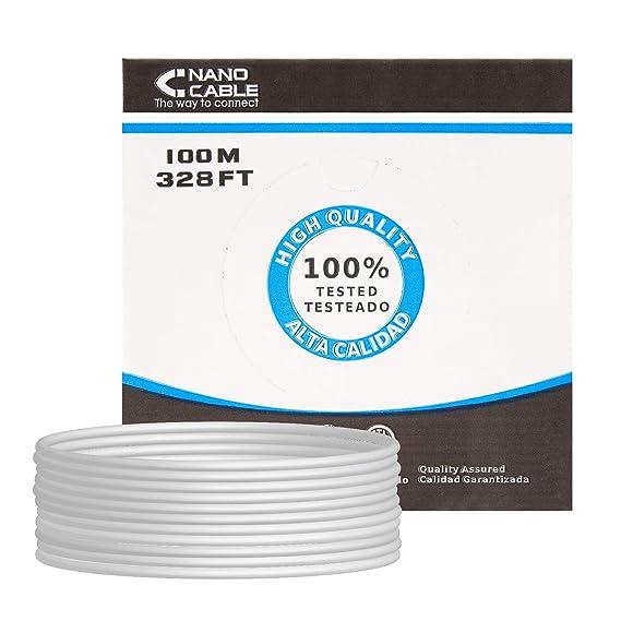 NANOCABLE 10.20.0902 - Cable de Red Ethernet rigido RJ45 Cat.6 FTP AWG24, rigido, Gris, Bobina de 100mts: Nanocable: Amazon.es: Informática