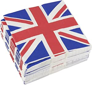 100-Pack Decorative Napkins - Disposable Paper Party Napkins with UK Flag Design - Perfect for Birthday Parties, Celebrations and Special Occasions, 13 x 13 Inches