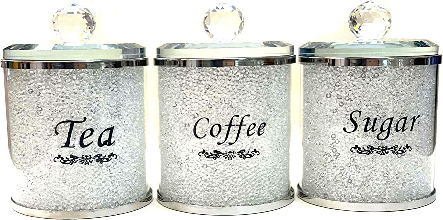 CRYSTAL   TEA COFFEE SUGAR CANISTERS JARS STORAGE