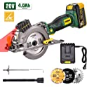 Popman 4.0Ah 20V 4,500RPM Cordless Circular Laser Saw with 3 Blades