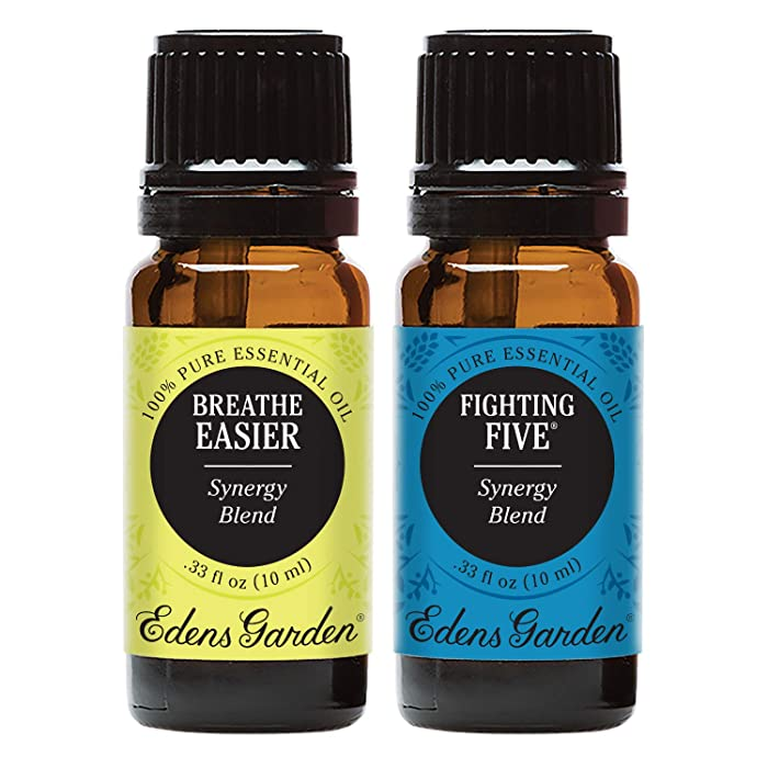Edens Garden Breathe Easier & Fighting Five Essential Oil Synergy Blend, 100% Pure Therapeutic Grade (Highest Quality Aromatherapy Oils), 10 ml Value Pack