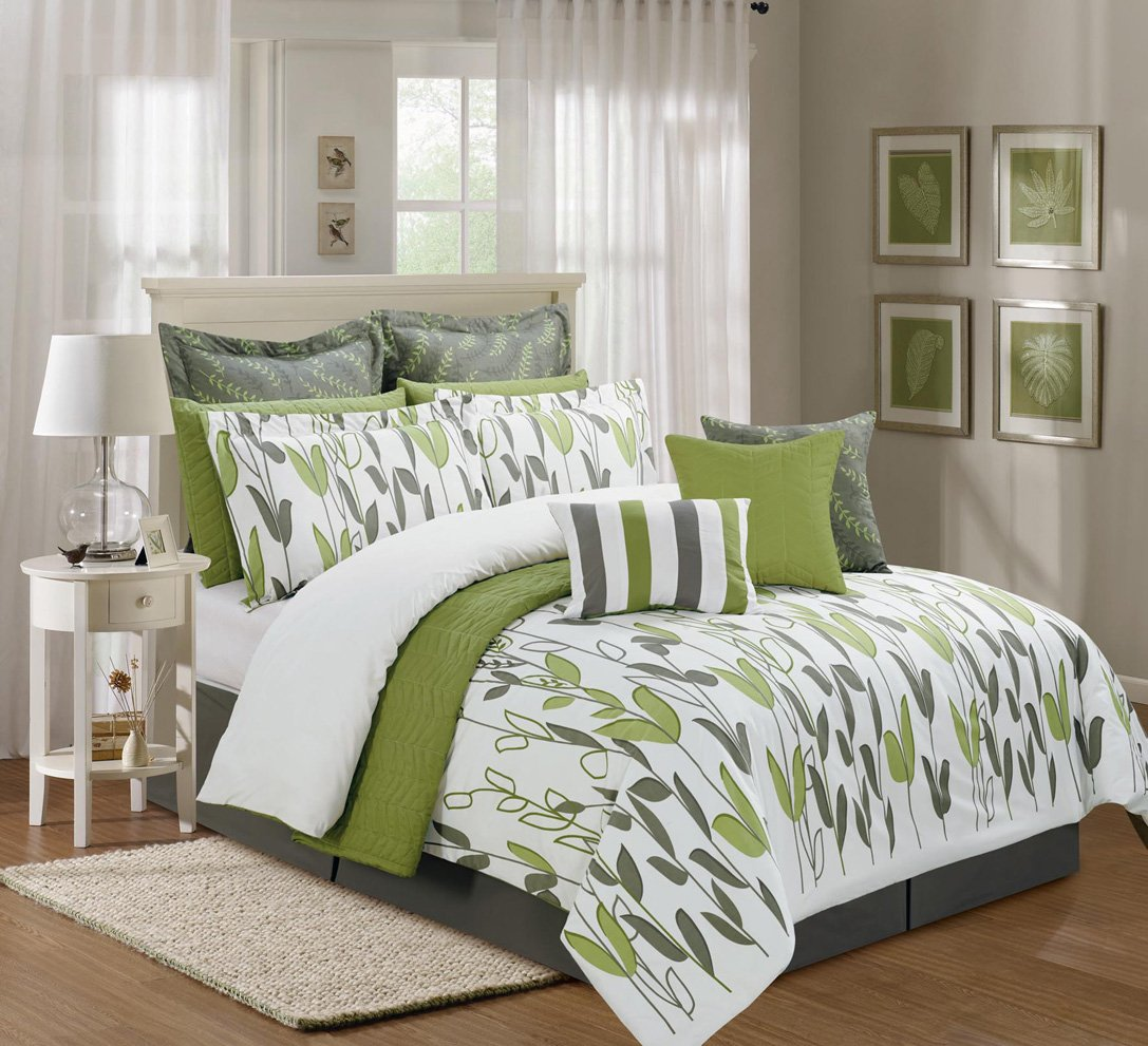 12 Pieces Luxury Sage Green, Grey and White vine Allen Comforter Set /  Bed-in-a-bag Queen Size Bedding