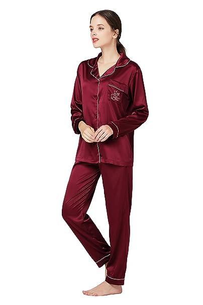 f7baaa7b3f1d Sofmoon Pajamas Women s Long Sleeve Sleepwear Soft Pj Set Medium Wine Red